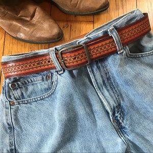 """Accessories - Leather Tooled Belt 30"""""""